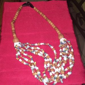Wooden necklace, long , beautiful colors